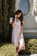JULIET HIGH LOW WRAP DRESS-PINK