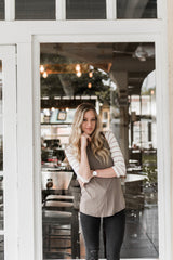 SOPHIE STRIPED TEE-TAUPE