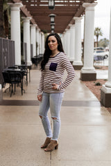 ON THE GO SWEATER-BURGUNDY STRIPE