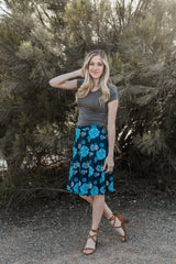 FLOWER HOUR SKIRT-NAVY