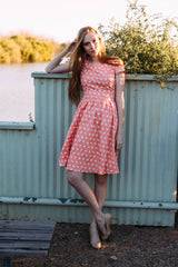 DOT TO HOT DRESS-CORAL