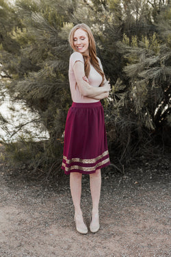 MAIN EVENT SKIRT-BURGUNDY