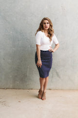 STRIKING POLKA DOT SKIRT-NAVY