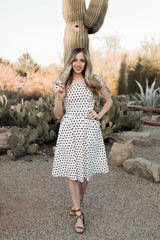 DOT TO HOT DRESS-NAVY DOT