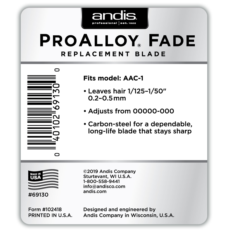 ANDIS ProAlloy Fade AAC-1 Replacement Blade Set (AAC-1) | Unisex Groom | Unisexgroom.com.au