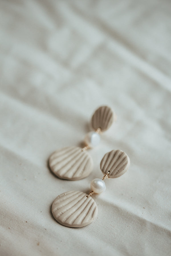 Birth of Venus Clay and Pearl Statement Earrings