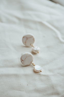 Greek Goddess Marble and Clay and Pearl Earrings