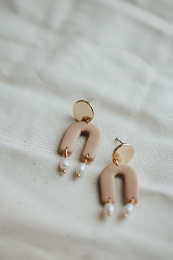 Arch of Aphrodite Clay and Pearl Earrings
