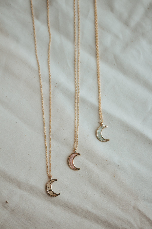 Crescent Moon Pressed Flower Necklace - WILL RESTOCK IN 2-4 WEEKS