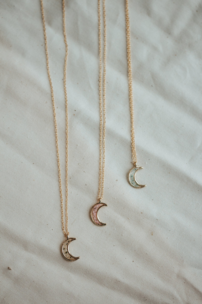 Crescent Moon Pressed Flower Necklace
