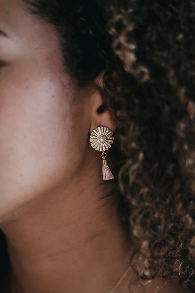 Kassidy Floral Tassel Earrings