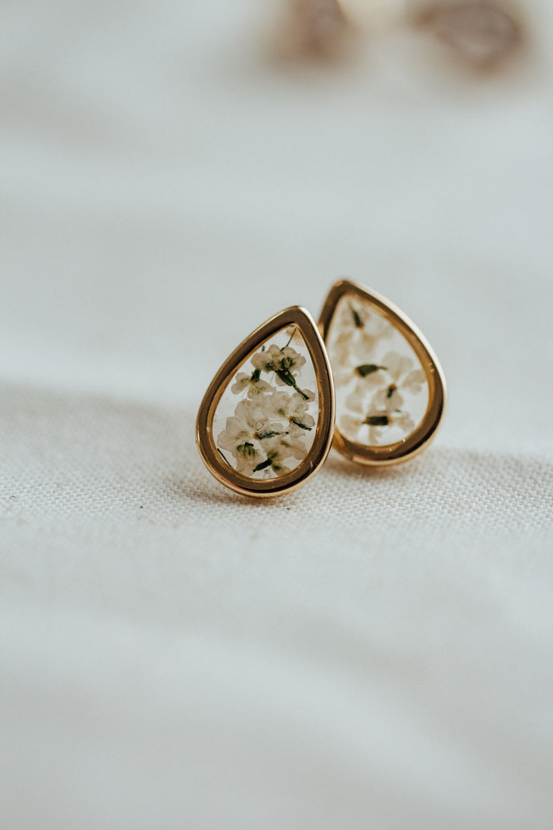 Pressed Flower Teardrop Earrings