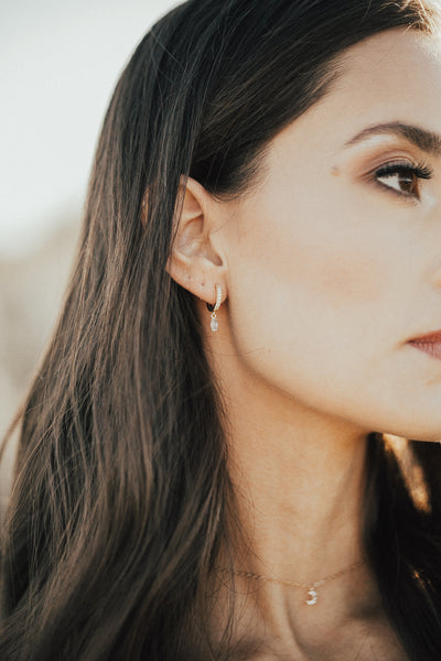 Mara Hoop Earrings || Moonstone - BORCIK