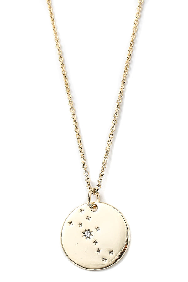 Gold Zodiac Disc Necklace - Choose your sign