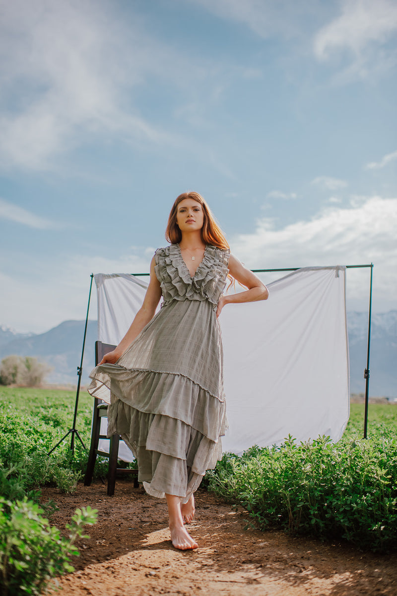 The Meadow Dress:  Ruffled Vintage Inspired Sage Green Dress