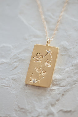 Birth Flower Zodiac Necklace- Scorpio Cosmo- October 23-31