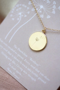 Gold Dandelion Disc Necklace - Collaboration with Mona Harper