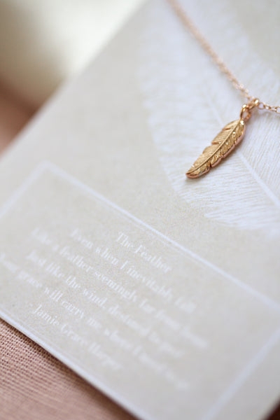 Tiny Rose Gold Feather Necklace - Collaboration with Jamie Grace Harper