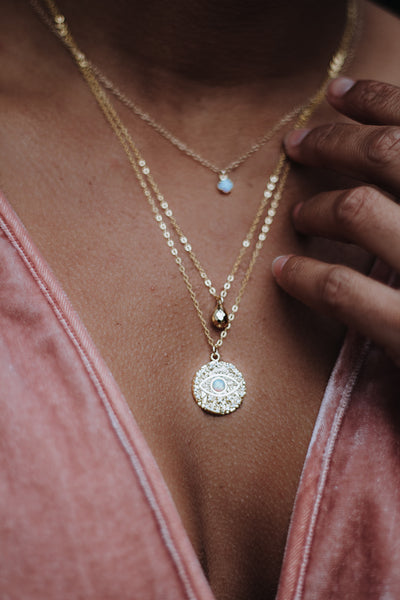 Good Vibes || Evil Eye Opal Disc Necklace