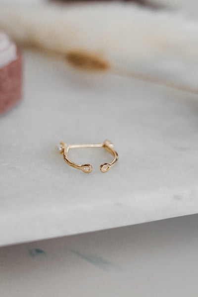 Stay Connected - gold and pearl bar ring