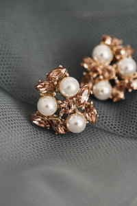 Camila Champagne and Pearl Cluster Bridal Studs