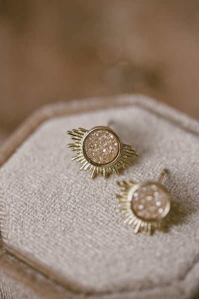Apollo Champagne Druzy Sunburst Earrings