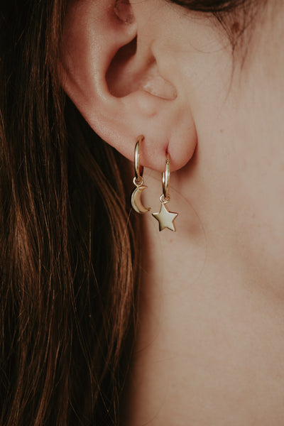 Minimal Moon and Star Huggie Hoop Earrings