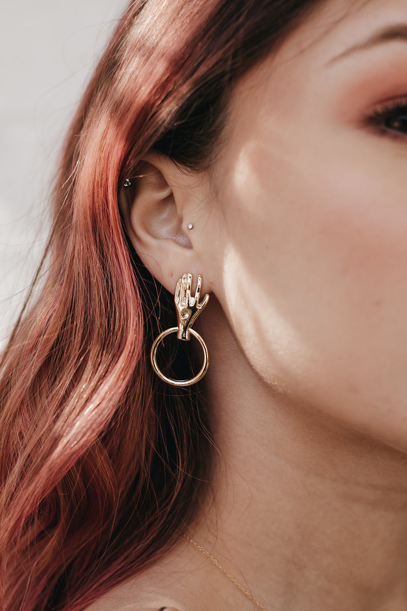 Fortune Is Knocking Gold Hand Earrings