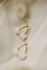 Jennifer Pearl Wrapped Wishbone Earrings