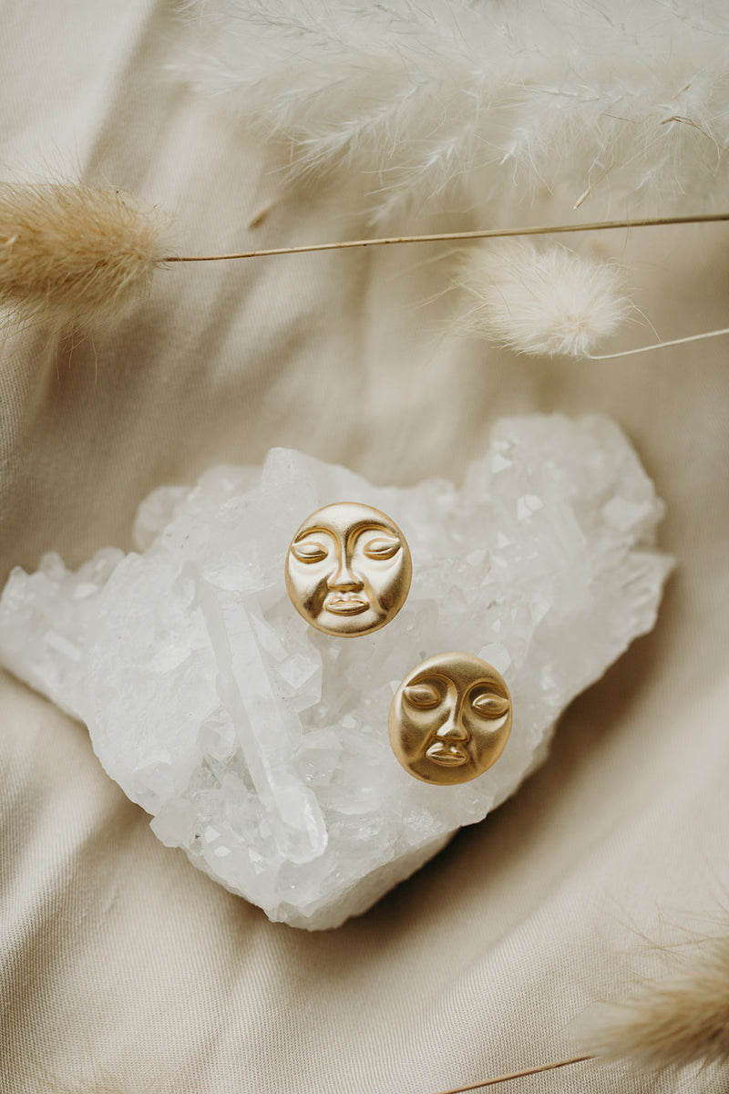 Man In The Moon Gold Earrings