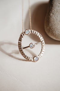 Moonstone Grounding Necklace- Solid Gold