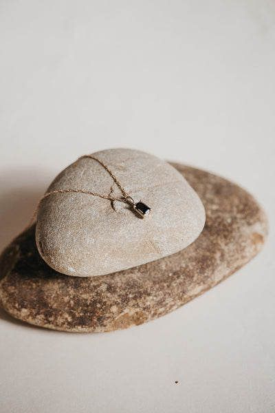 Smokey Quartz and Diamond Grounding Necklace - Solid Gold