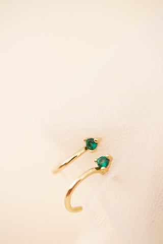 Emerald City Half Hoop Studs