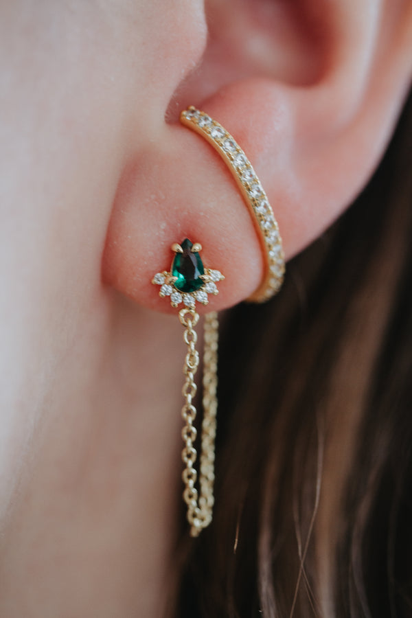 Aurora Teardrop Chain Studs - Emerald Green