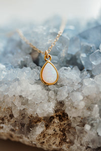 Petite Teardrop Opal Necklace