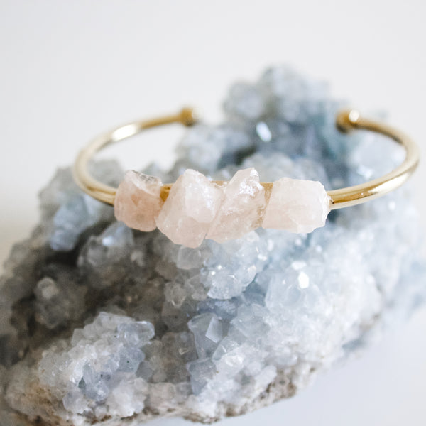 Boho Cuff || Raw Rose Quartz - BORCIK
