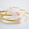 Boho Cuff || Raw Rose Quartz