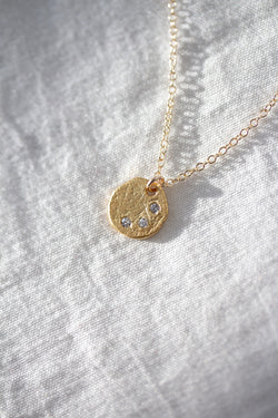 Mind Body Spirit Matte Textured Disc Necklace