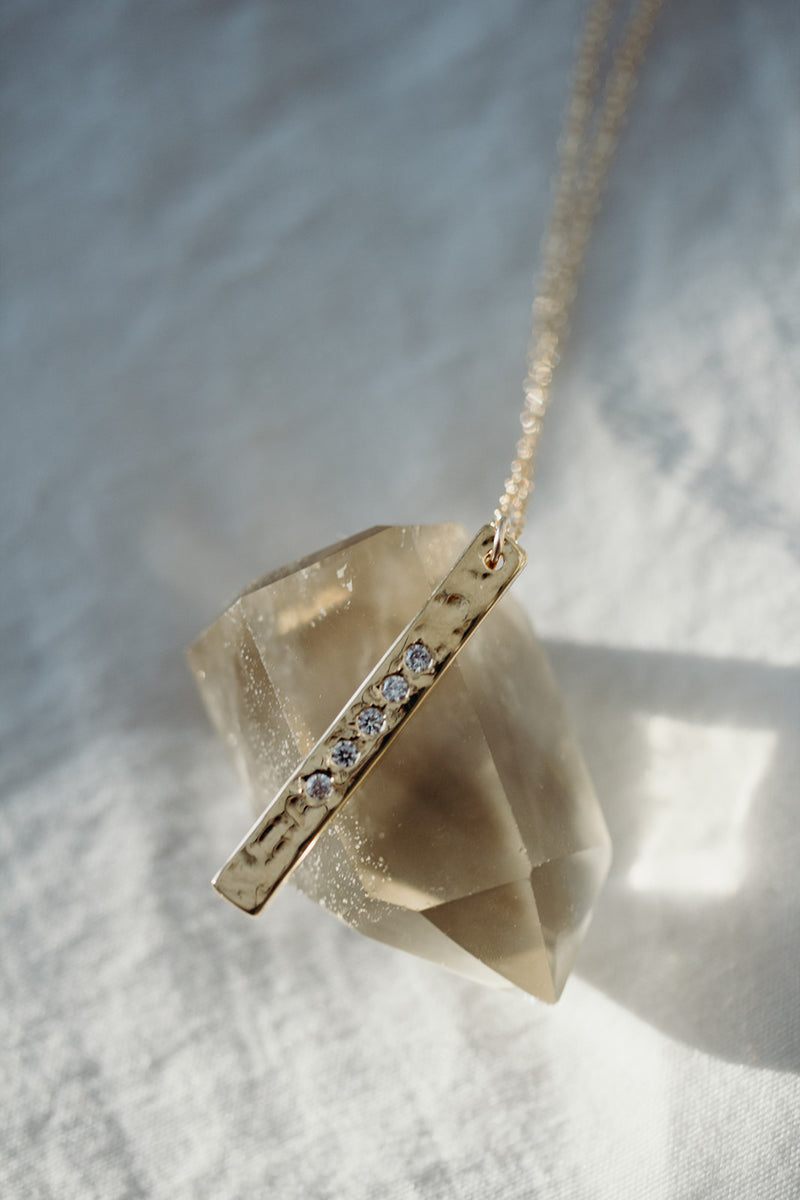 Serenity Long Gold Bar Necklace
