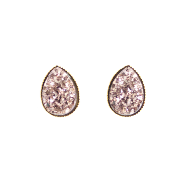Rose Gold Druzy Teardrop in Gold Setting - BORCIK