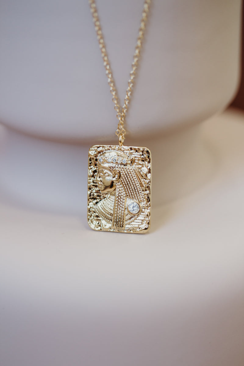 Gold Cleopatra Rectangle Pendant Necklace