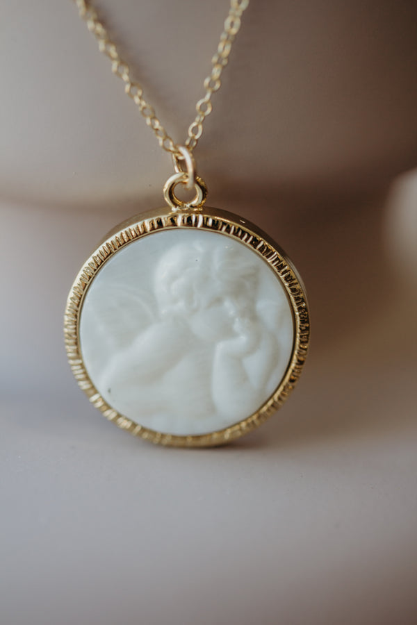 Mon Ange - mother of pearl angel necklace