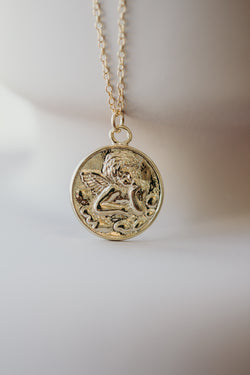 Gold Angel Medallion Necklace