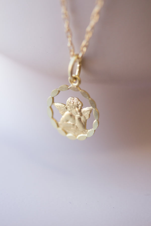 Mon Cherie Angel - 12 mm Solid Gold Angel Necklace
