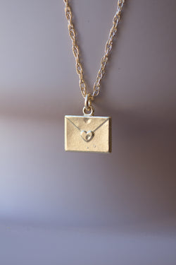 Sealed with Amour - Tiny Solid Gold Letter Necklace