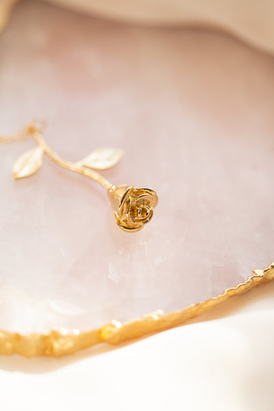 Smell The Roses Gold Rose Necklace