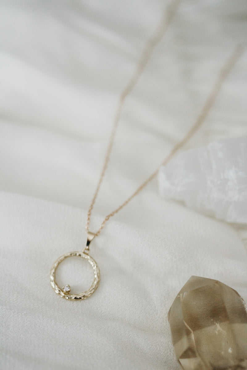 14k Solid Gold and Diamond Centered Circle Necklace