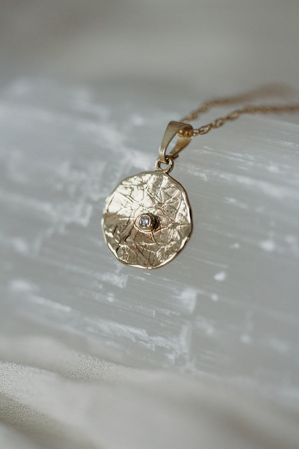 14k Solid Gold and Diamond Textured Disc Necklace