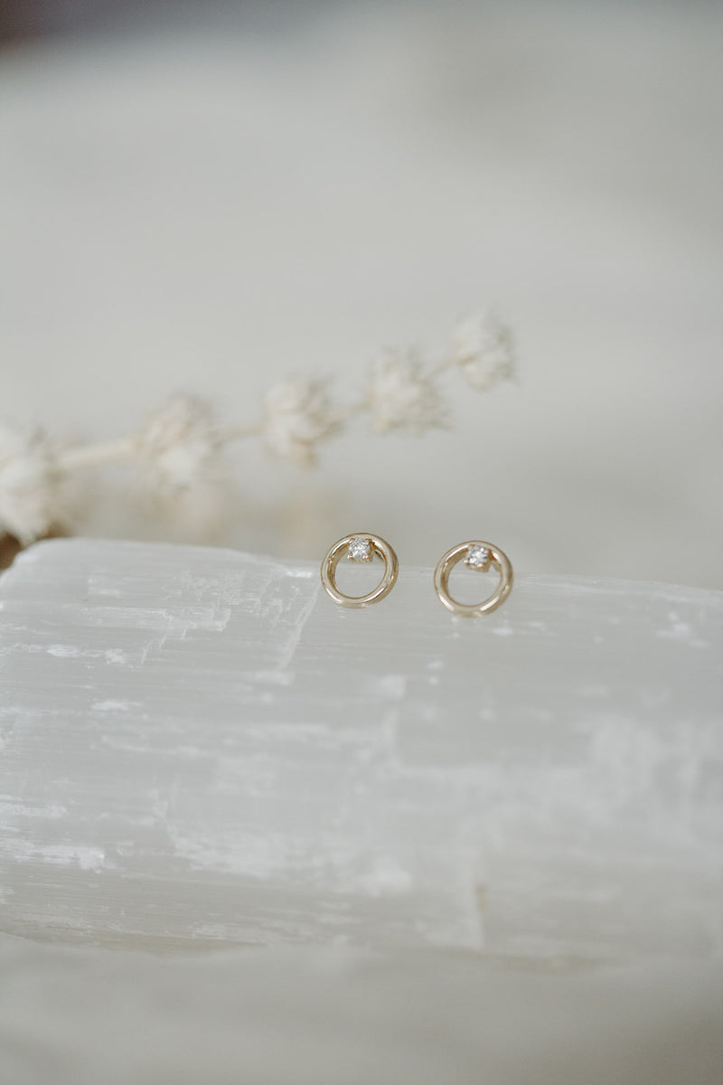 14k Solid Gold and Diamond Balanced Dainty Earrings