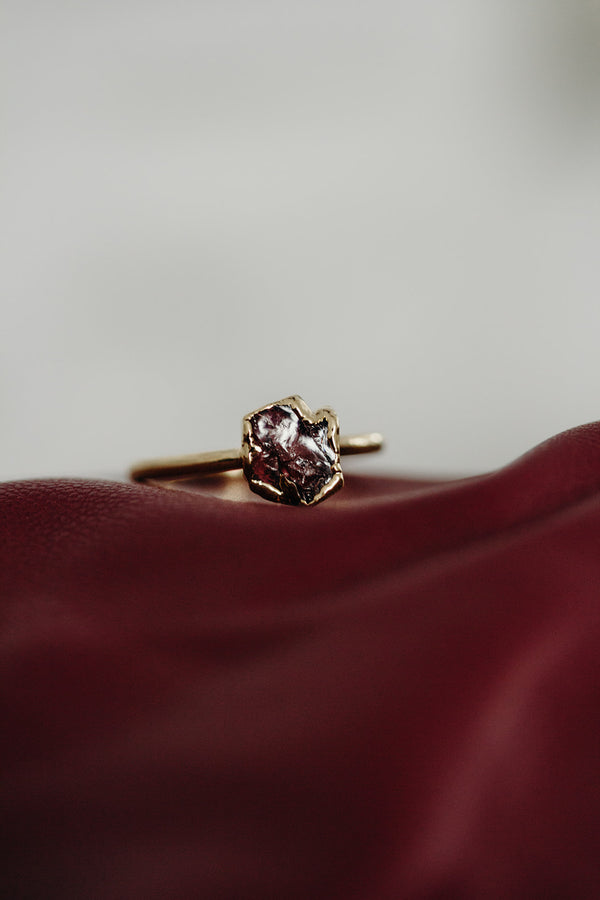 Raw Garnet Ring - January Birthstone Ring